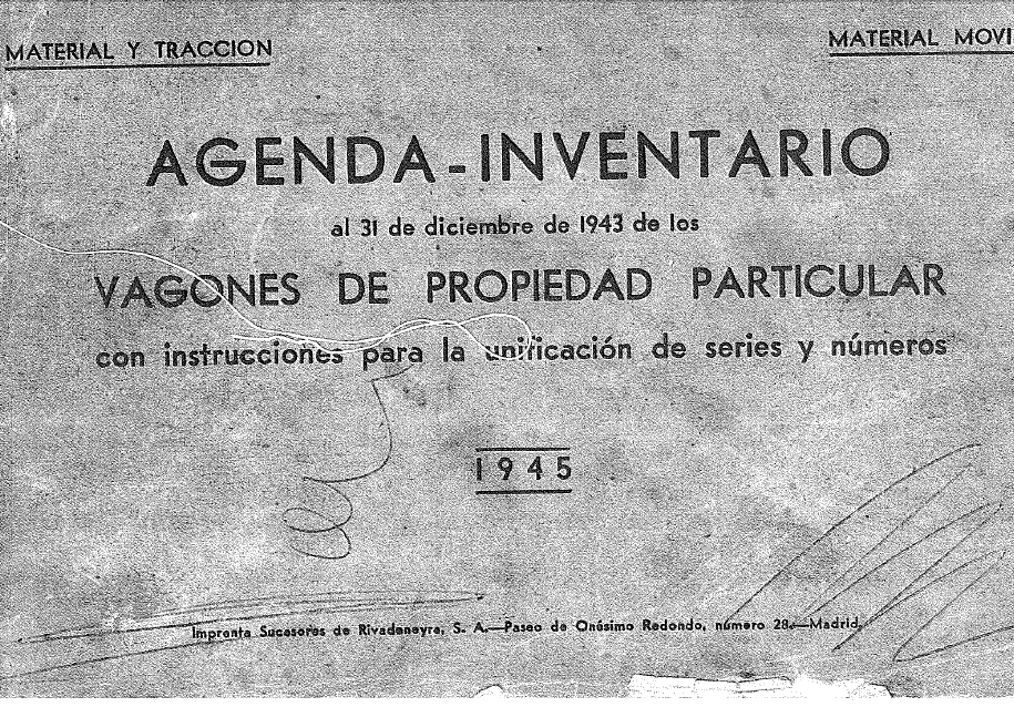 Agenda inventaire wagon particuliers Renfe 1945